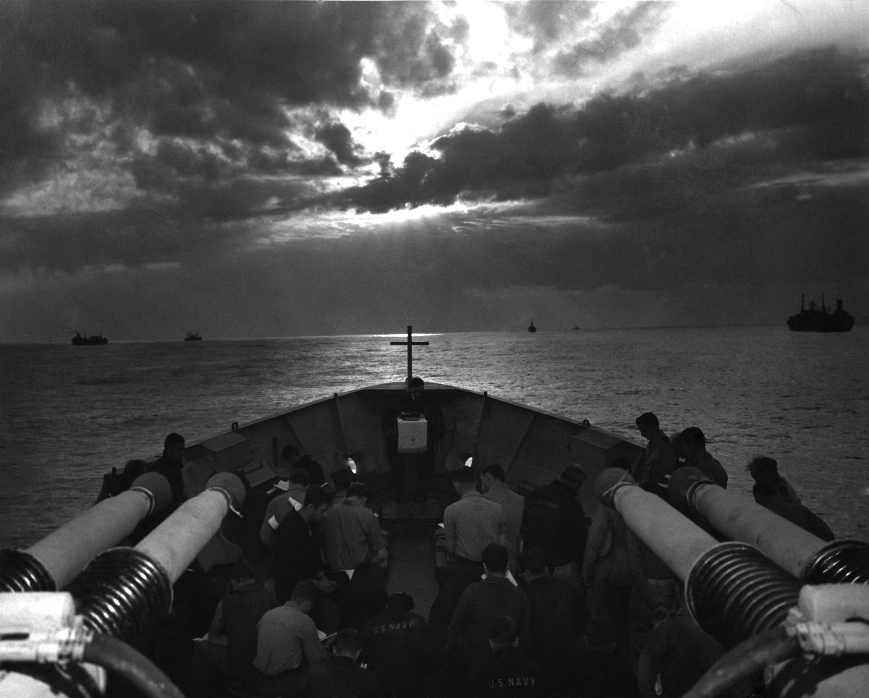 Easter sunrise service aboard the USS Duane