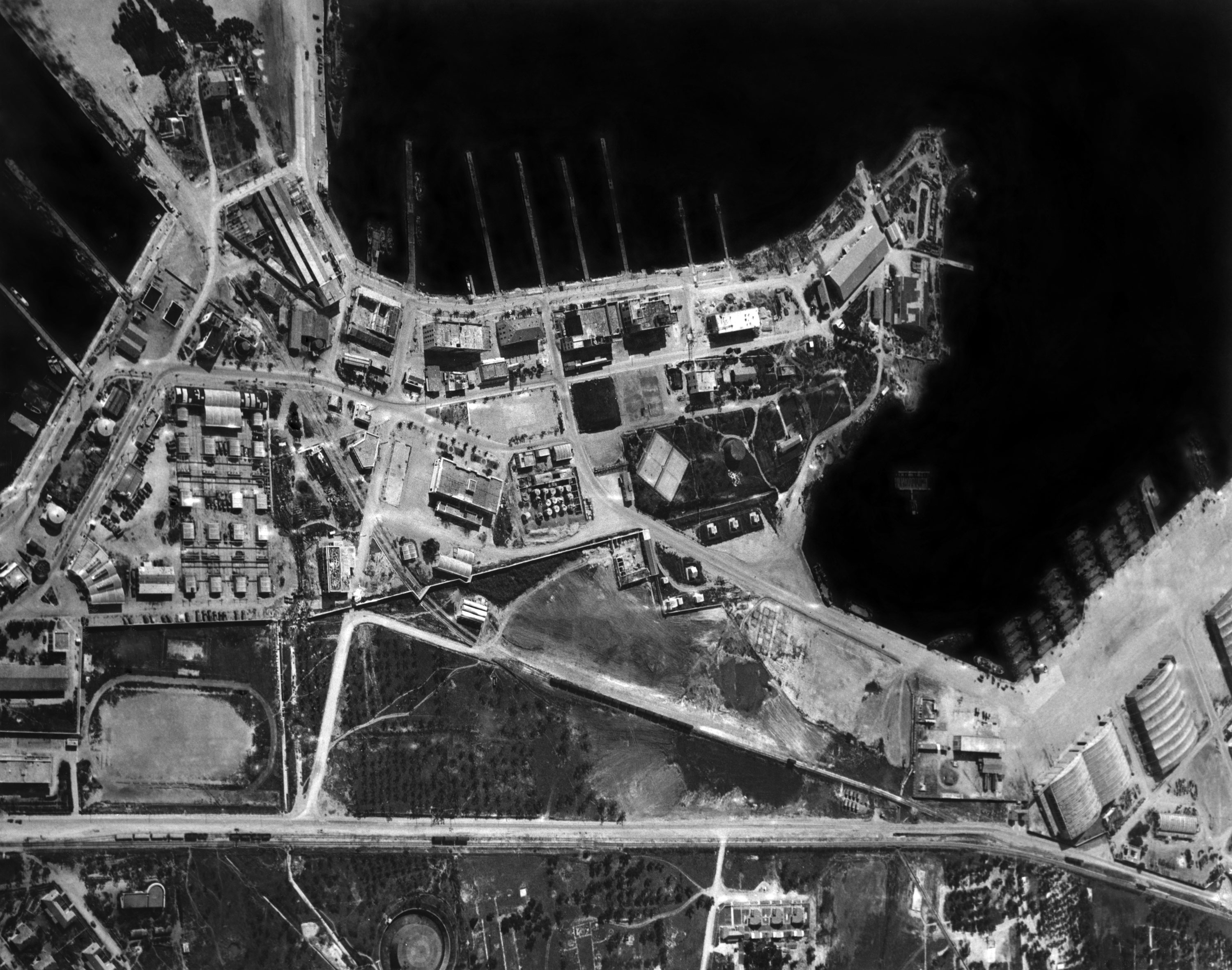 1945 - US Naval base in Bizerte, Tunisia from 5000 feet