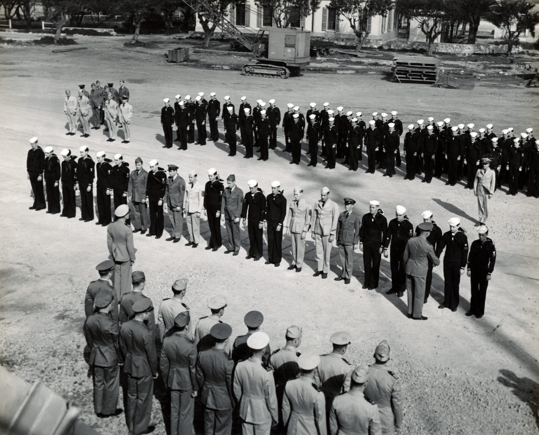 1945 - Admiral Hewitt of 8th Fleet Awards USS Duane Heroes