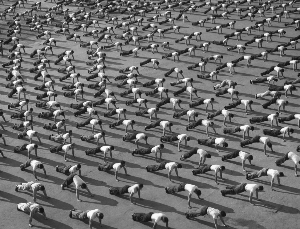 1945 - Morning exercises for members of 8th Fleet, North Africa