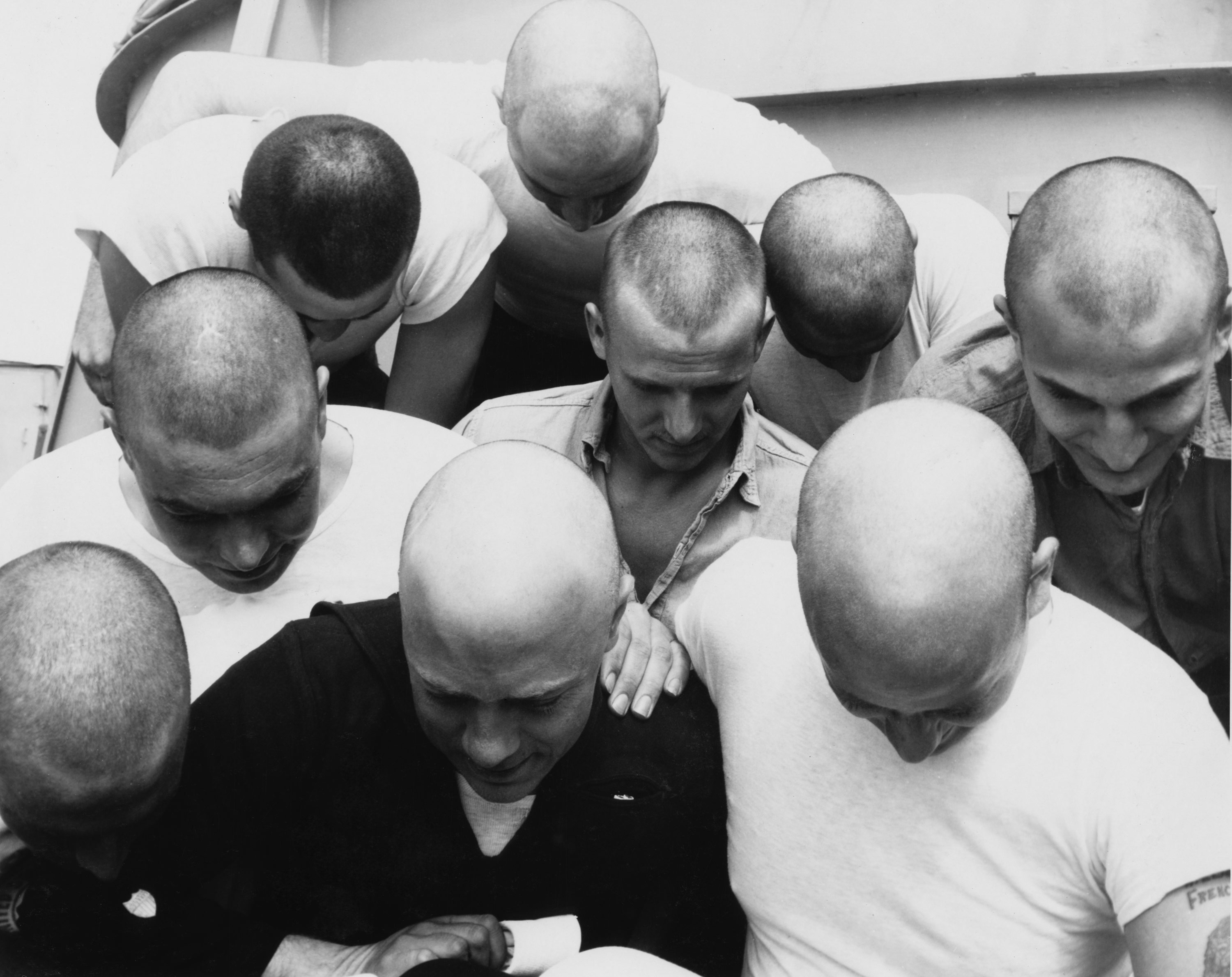 1945 - Members of USCG USS Duane Crew with Shaved Heads